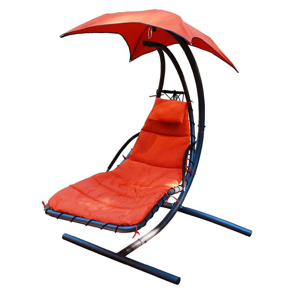 Cloud 9 Hanging Patio Lounger & Stand Set, Orange Smoothie