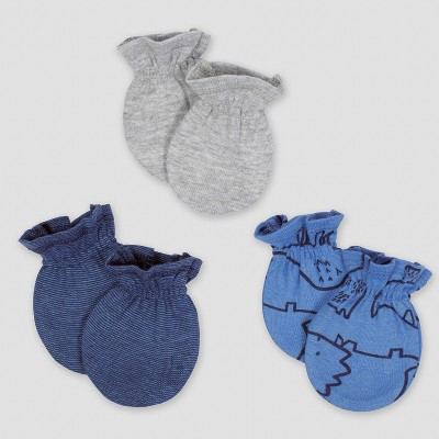 Gerber® Baby Boys' 3pk Mittens Dino - Blue 0/3M