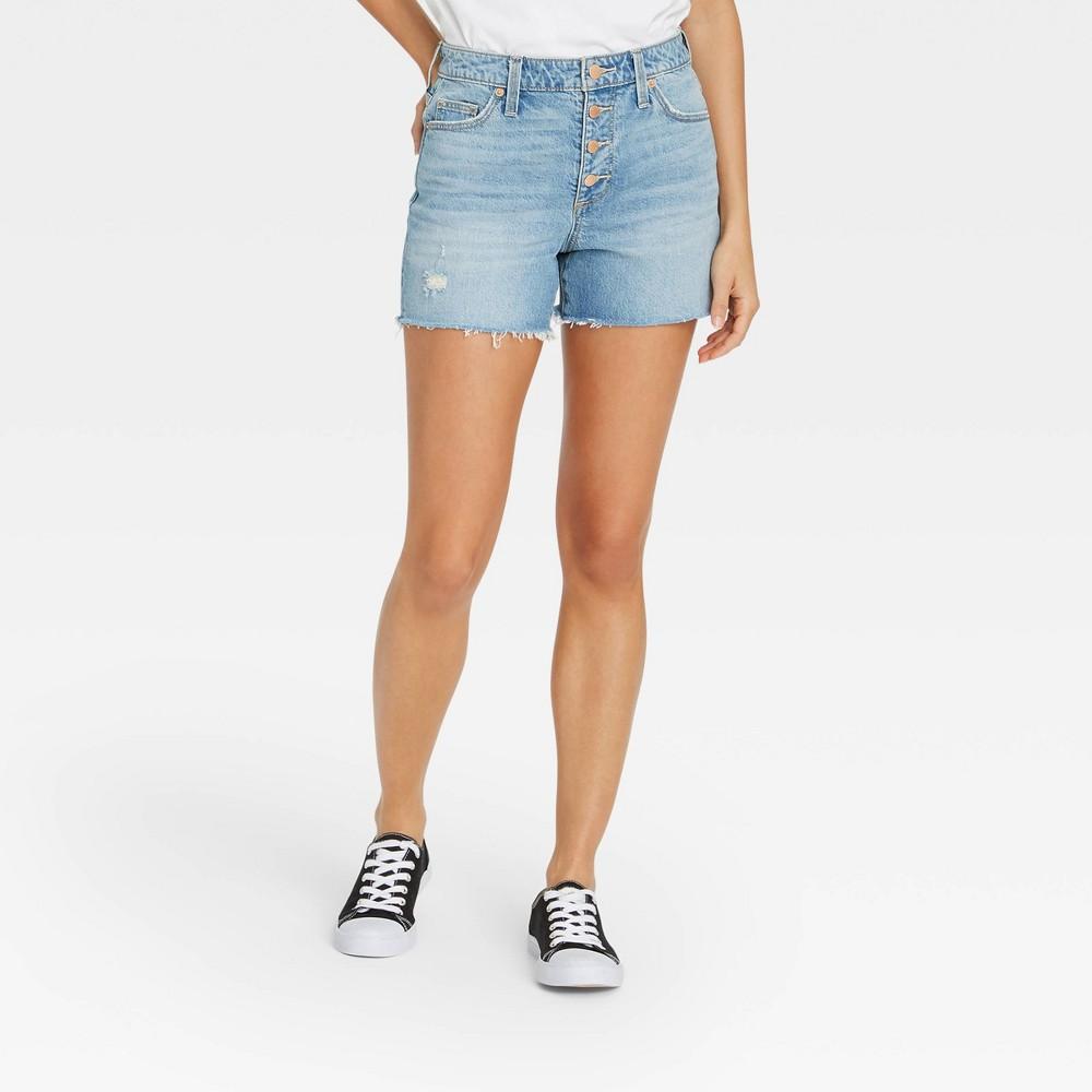 Women 39 S High Rise Jean Shorts Universal Thread 8482 Light Wash 0