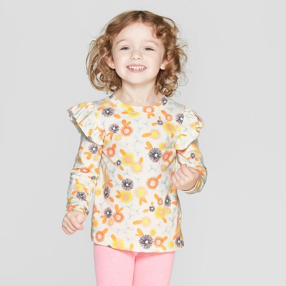 Toddler Girls' Long Sleeve T-Shirt - Cat & Jack Cream/Orange 2T, White