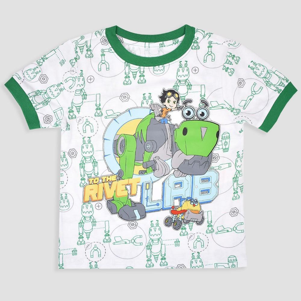 Toddler Boys' Nickelodeon Rusty Rivets Short Sleeve T-Shirt - White 12M, Green