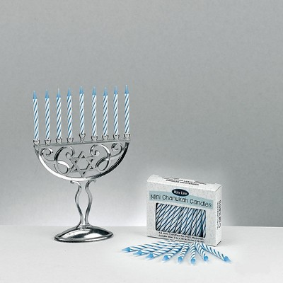 "Rite Lite 45pc Classic Style Mini Hanukkah Menorah Set with Candles 4.75"" - Silver/Blue"