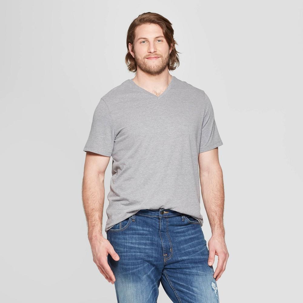 Men's Tall Standard Fit Short Sleeve Lyndale V-Neck T-Shirt - Goodfellow & Co Gray LT