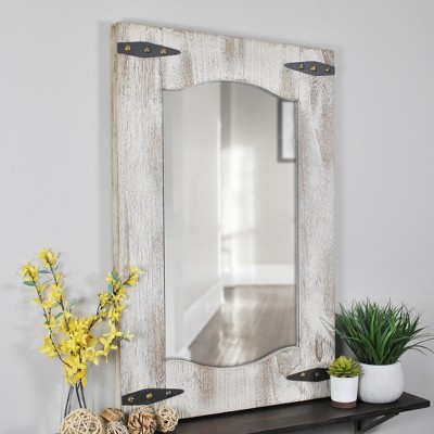 "21.5"" x 1"" x 33.5"" Farmhouse Barn Door Mirror Tan - FirsTime & Co."