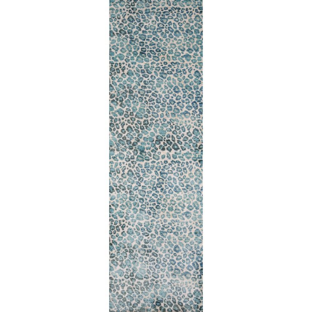 Blue Animal Print Loomed Runner 2'3x8' - Momeni