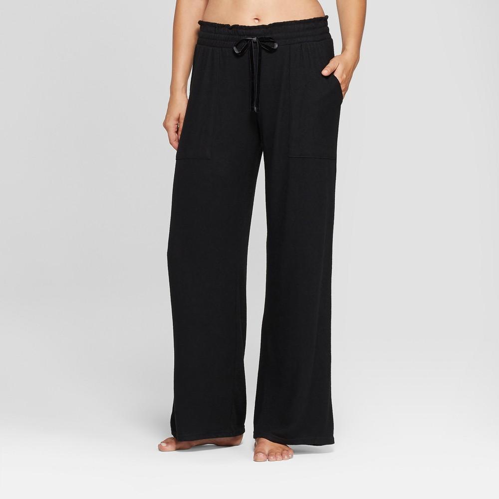 Women's Cozy Wide Leg Pajama Pants Black M