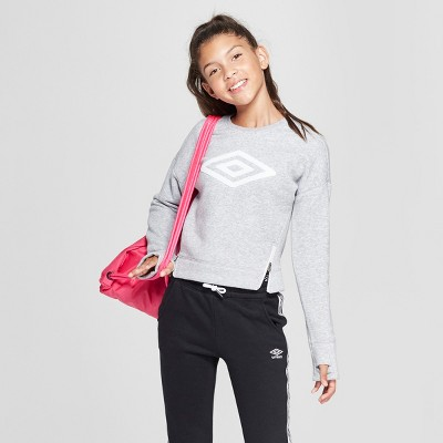 cbc47ff6d61 Umbro Girls  Side Zip Fleece Pullover – Heather Grey M – Target ...