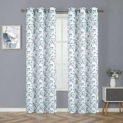 Kate Aurora 2 Pack Grommet Top Floral Cherry Blossom Room Darkening Curtain Panels