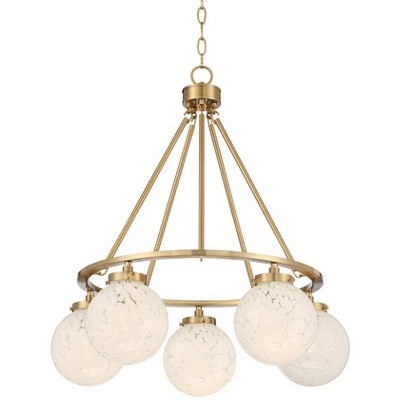 "Candida 28""W Warm Gold and Glass Globe 5-Light Chandelier"