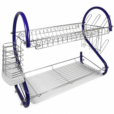 Better Chef 16-Inch 2-Tier Chrome Plated Dishrack in Blue