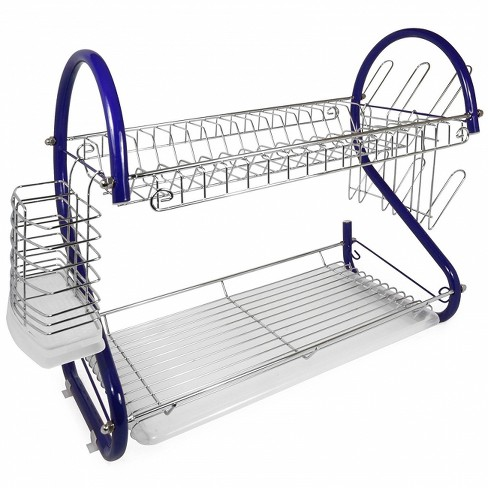 Better Chef 16-Inch 2-Tier Chrome Plated Dishrack in Blue - image 1 of 4