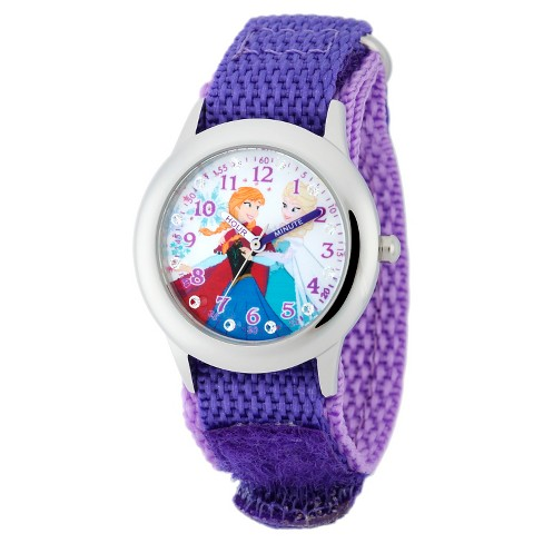 Disney® Girls' Frozen Anna and Elsa Stainless Steel Plain Case with Glitz Watch - Purple - image 1 of 2