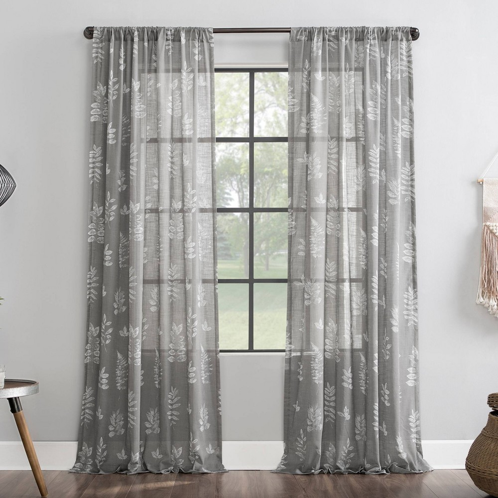 50 34 x96 34 Fossilized Floral Cotton Sheer Curtain Archaeo