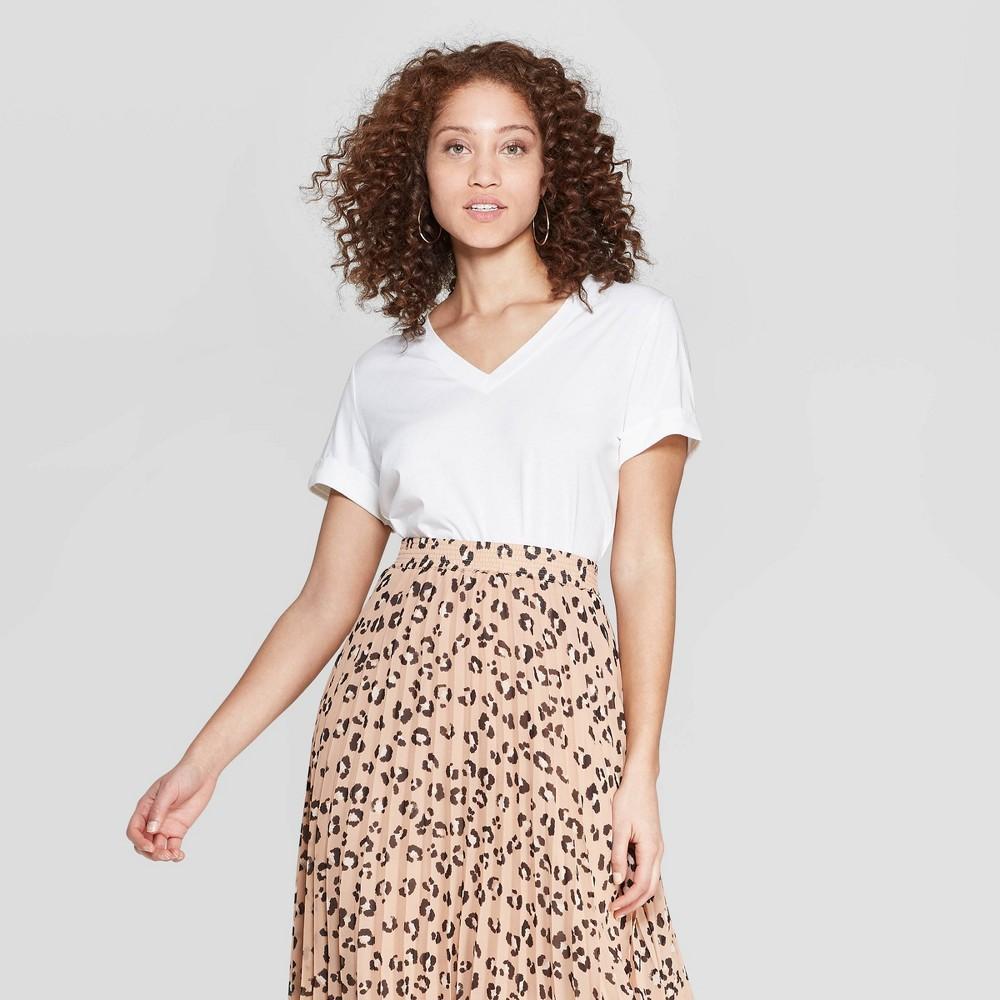 Women's Slim Fit Short Sleeve V-Neck T-Shirt - A New Day White M