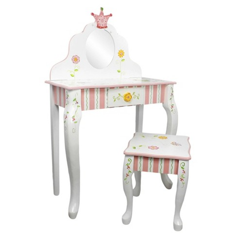 Princess & Frog Fantasy Fields Vanity Table & Stool Set - Teamson Kids - image 1 of 4