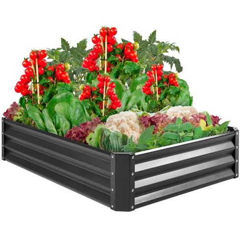 Best Choice Products 4x3x1ft Outdoor Metal Raised Garden Bed for Vegetables, Flowers, Herbs, Plants - Dark Gray - image 1 of 4