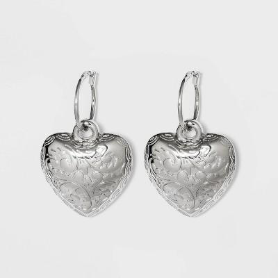 Heart Charm Dangle Earrings - Wild Fable™ Silver