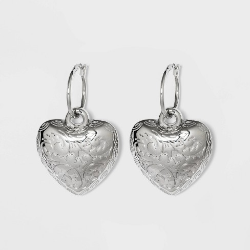 Heart Charm Dangle Earrings - Wild Fable™ Silver - image 1 of 2