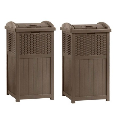 """Suncast GHW1732 15.75"""" x 16"""" x 31.6"""" Trashcan Hideaway Outdoor Commercial 33 Gallon 31.6"""" Resin Garbage Waste Bin with Lid in Brown for Garage, 2 Pack"""