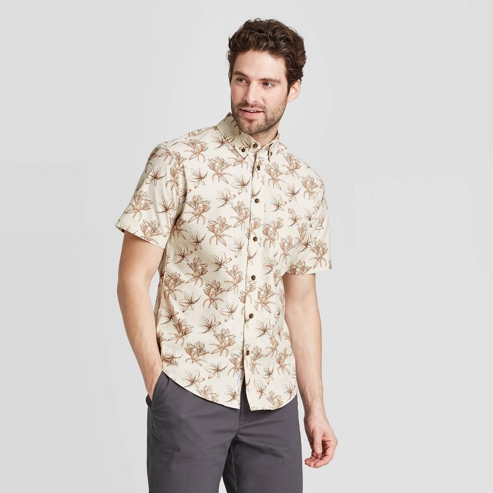 Men's Floral Print Standard Fit Short Sleeve Button-Down Shirt - Goodfellow & Co Beige L was $19.99 now $12.0 (40.0% off)
