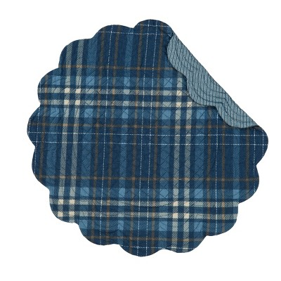 C&F Home Anthony Navy Plaid Cotton Quilted Round Reversible Placemat Set of 6