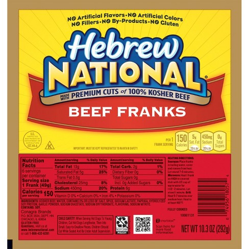 Hebrew National Beef Franks - 6ct/10.3oz - image 1 of 1