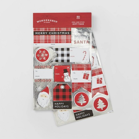 50ct Red/Silver/Black Sticker Gift Tags - Wondershop™ - image 1 of 1