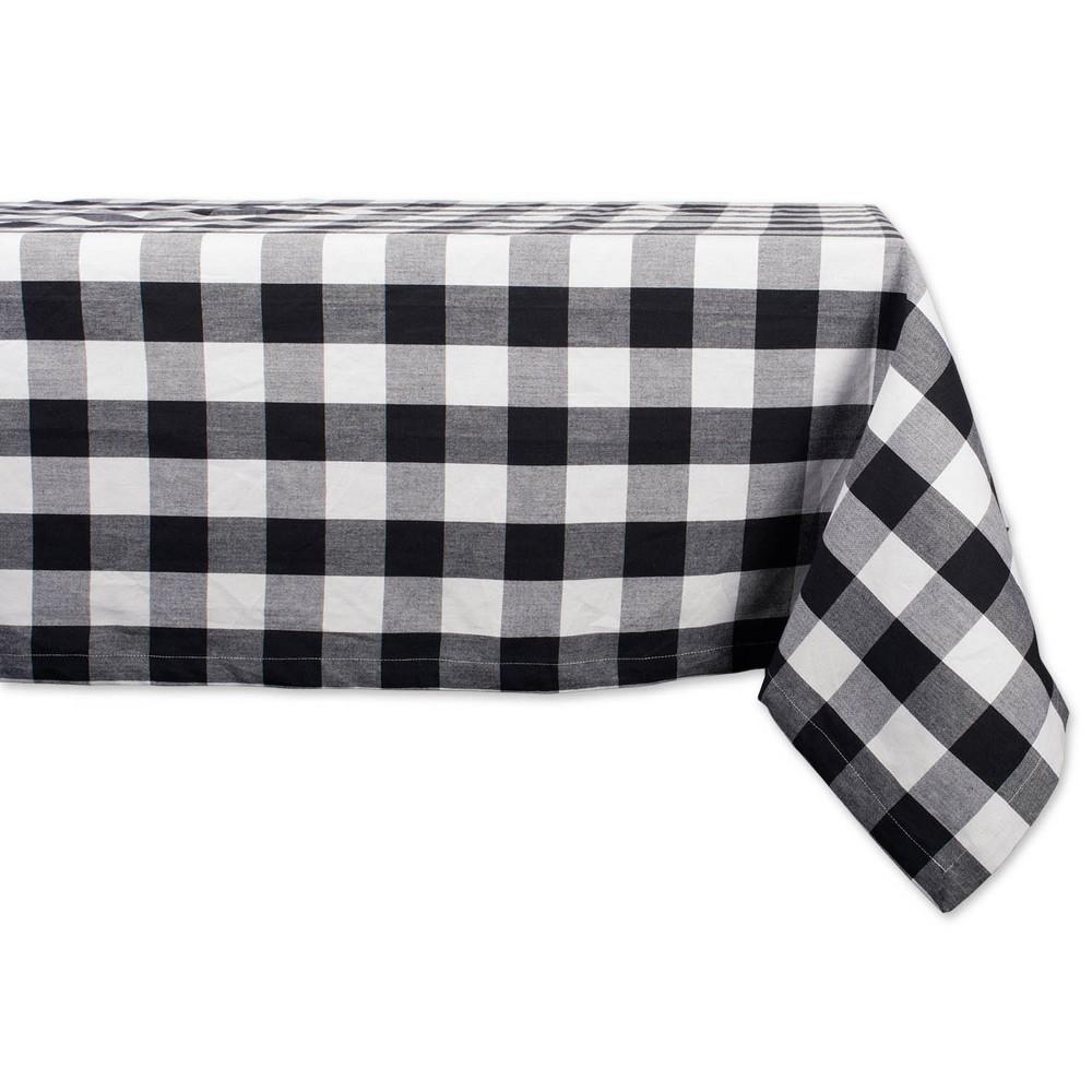 "Image of ""104""""x60"""" Buffalo Check Tablecloth Black/White - Design Imports"""