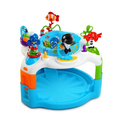 Baby Einstein Rhythm of the Reef Baby Activity Saucer Bouncer Play Center w/ 360 Degree Rotating Seat, Soothing Ocean Sounds, & Adjustable Height
