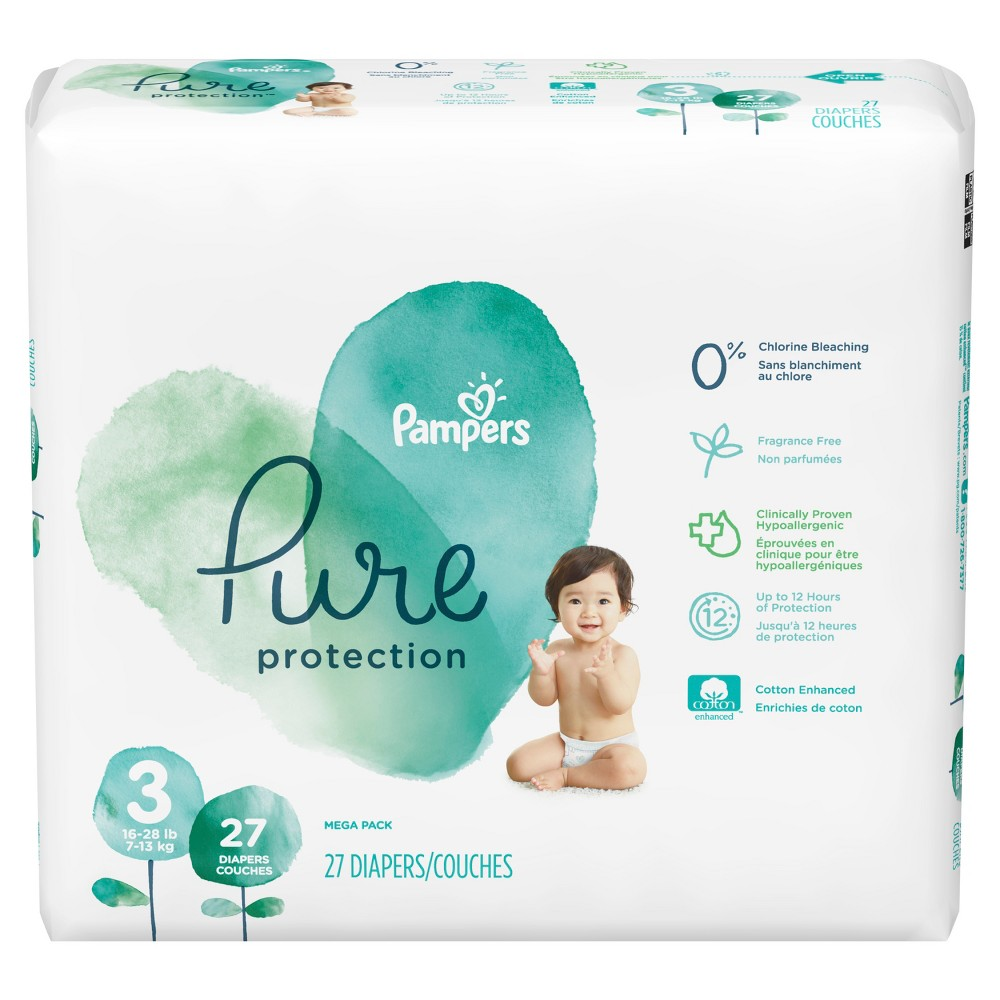 Pampers Pure Protection Diapers Mega Pack - Size 3 (27ct)