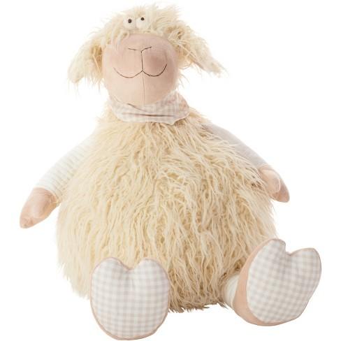 Oversized Shaggy Lamb Plush Throw Pillow Ivory - Mina Victory - image 1 of 4