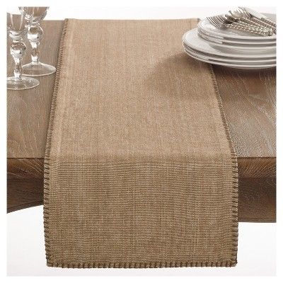 Light Brown Celena Whip Stitched Design Table Runner (13 x72 )- Saro Lifestyle®