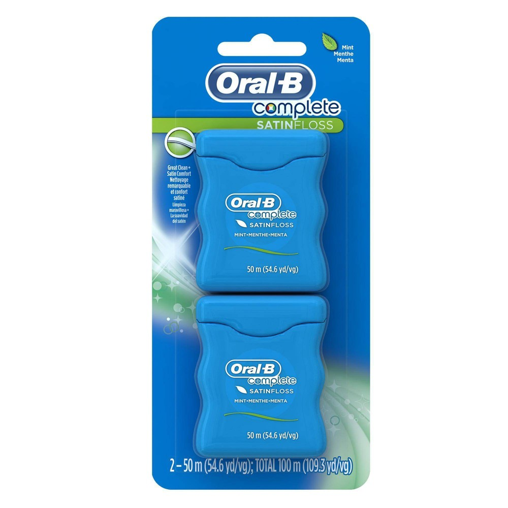 Image of Oral-B Complete SatinFloss Dental Floss Mint - 50m/2pk
