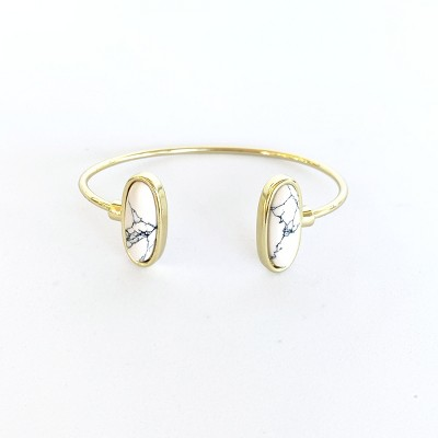 Sanctuary Project Semi Precious White Howlite Oval Cuff Bracelet Gold