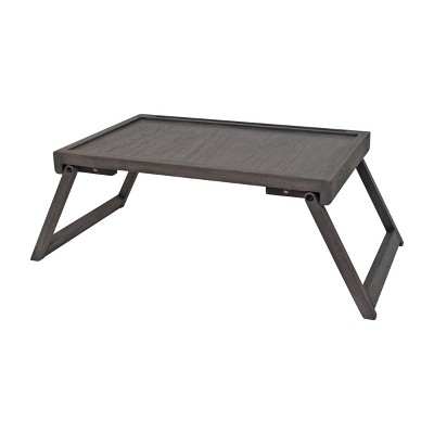 "21"" x 10"" Acacia Bed Tray Gray - Hopper Studio"