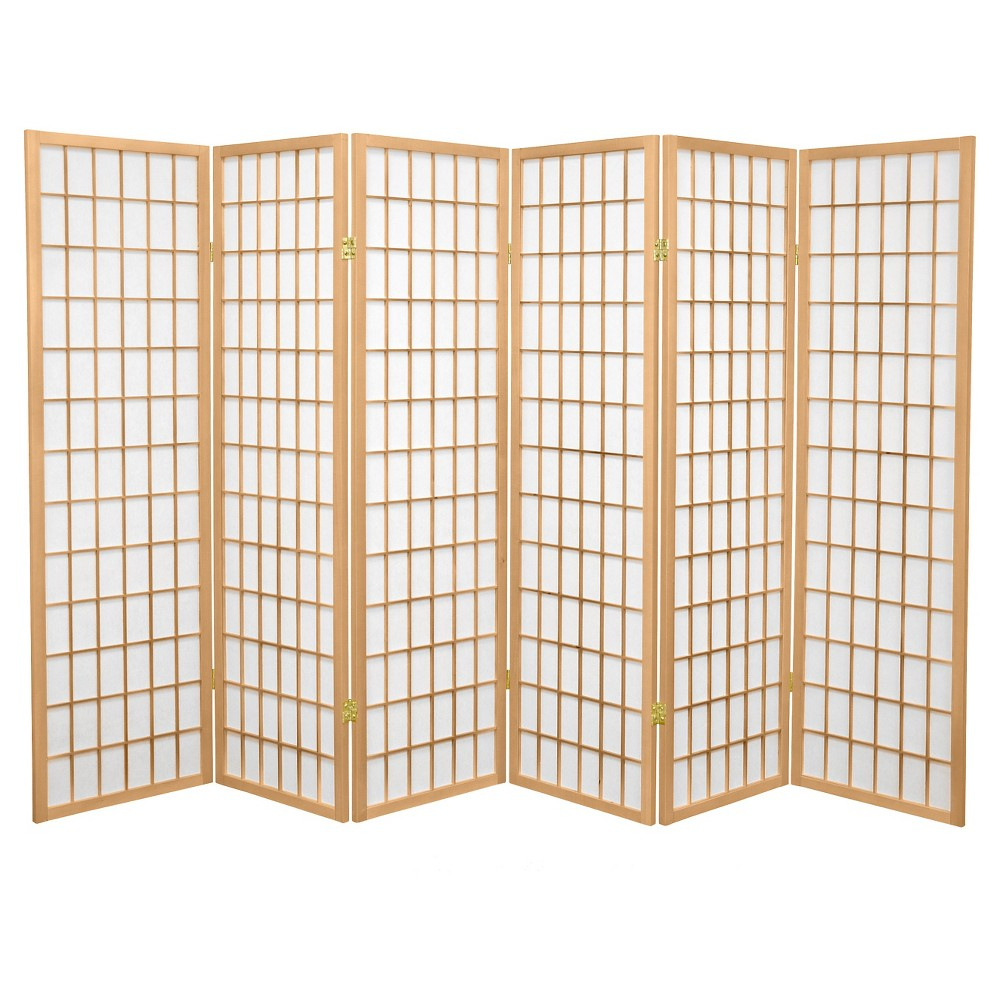 5 ft. Tall Window Pane Shoji Screen - Natural (6 Panels), Neutral