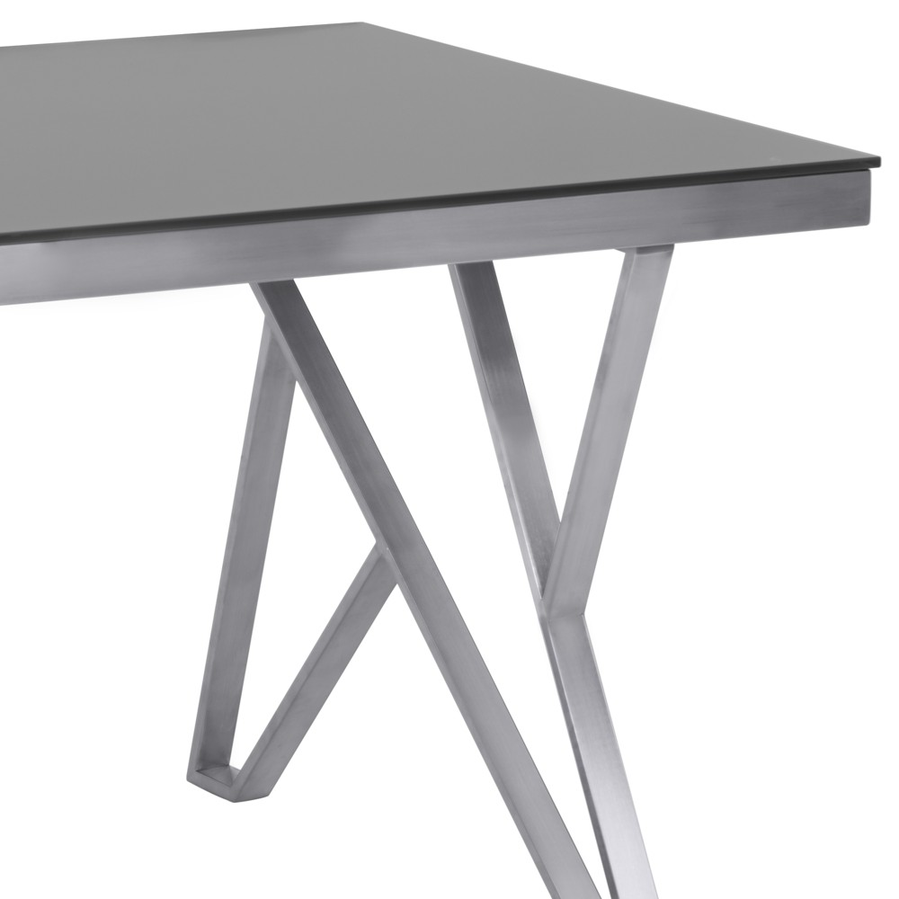 Mirage Contemporary Dining Table in Brushed Stainless Steel (Silver) and Gray Tempered Glass Top - Armen Living