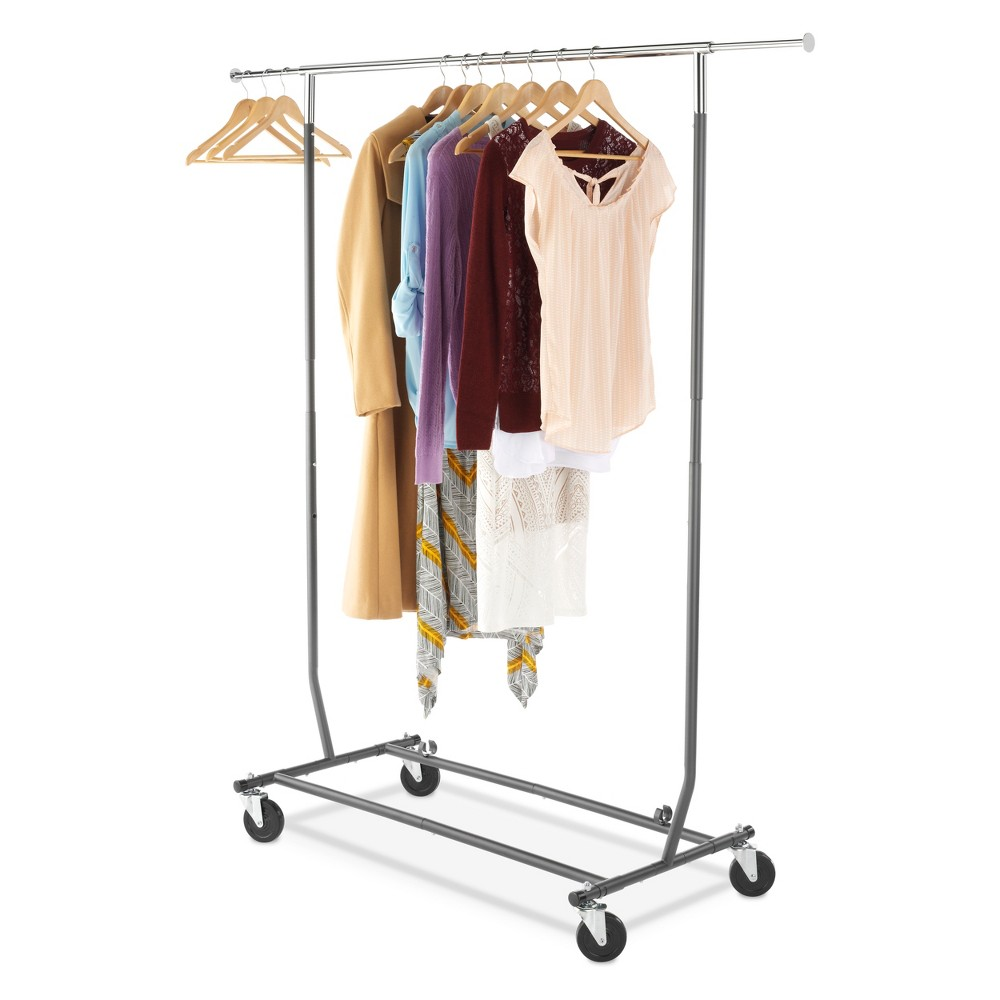 Garment Racks Chrome (Grey) Gunmetal - Room Essentials Organize your clothes neatly with this Chrome Gunmetal Garment Rack from Room Essentials. A perfect addition to your closet or laundry room, this slim garment rack gives you extra hanging space you need without taking up too much space. Made from sturdy steel in a gunmetal finish, this convenient clothing rack makes garment display neat and easy. Supported on a sturdy base with four wheels, it can be moved from one place to another for easy portability.