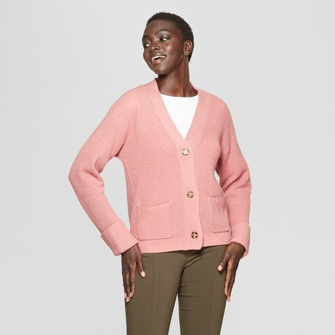 2127fd8c181a Women s Long Sleeve Ribbed Cardigan - Who What Wear™ Pink   Target