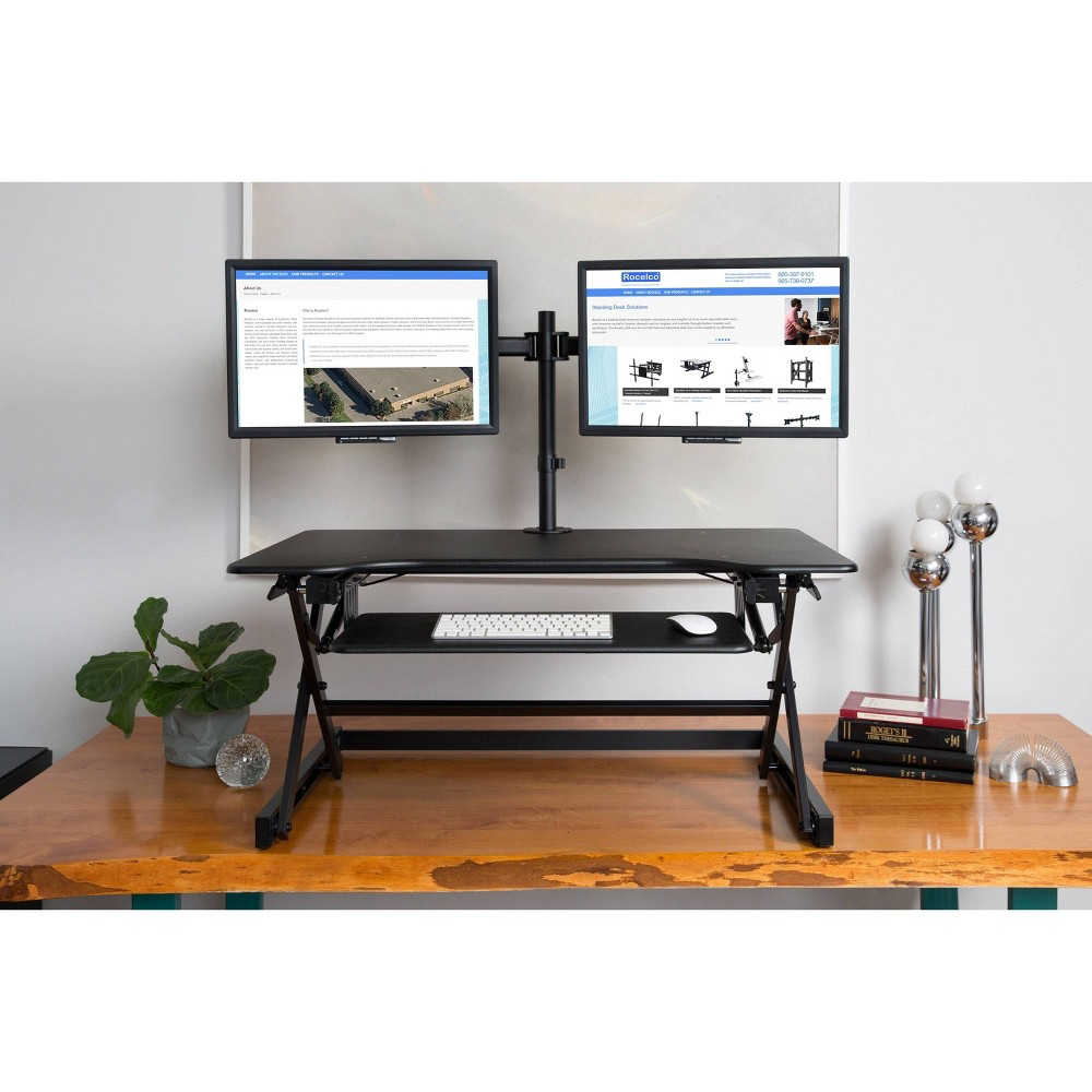 "Image of ""40"""" Height Adjustable Standing Desk Converter Bundle & Monitor Arm Black - Rocelco, Size: 40"""""""