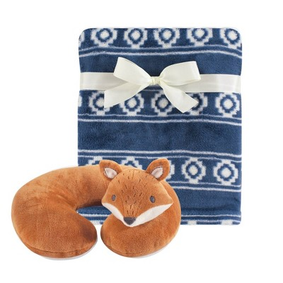 Hudson Baby Unisex Baby Neck Pillow and Plush Blanket Set - Modern Fox One Size