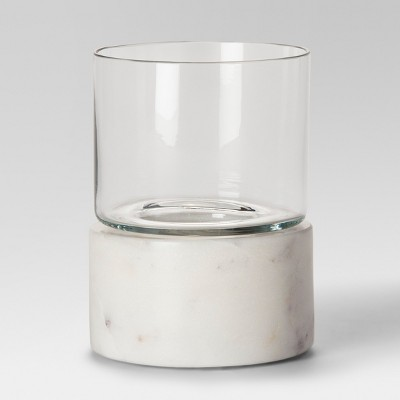 Marble Hurricane Candle Holder Small - White - Project 62™