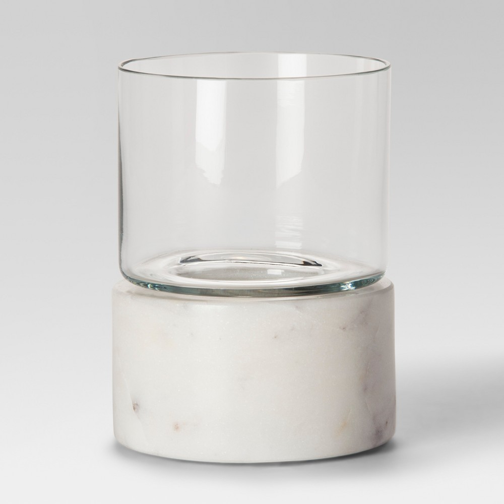 Marble Hurricane Candle Holder Small - White - Project 62