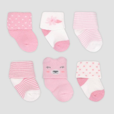 Baby Girls' 6pk Bear Crew Socks - Just One You® made by carter's Pink 0-3M