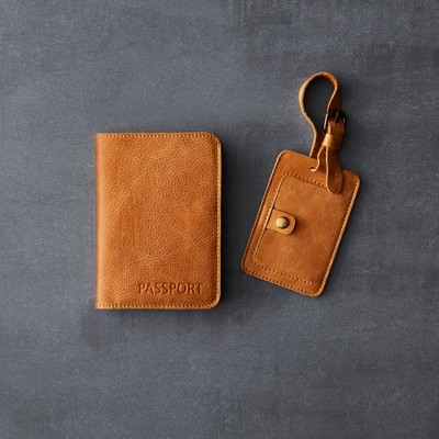 Leather Luggage Tag and Passport Holder Set (2pc)- Cognac - Hearth & Hand™ with Magnolia