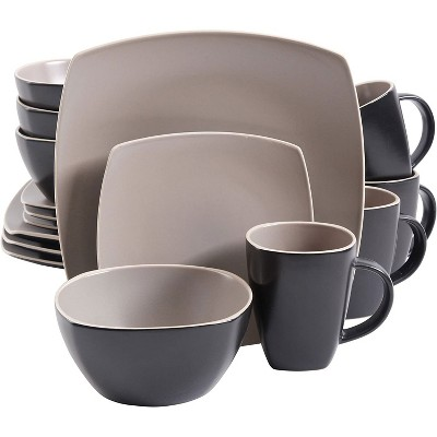 Gibson 102264.16RM Elite 16 Piece Durable Square Matte Dinnerware Set with Plates, Bowls, and Mugs,  Microwave and Dishwasher Ready