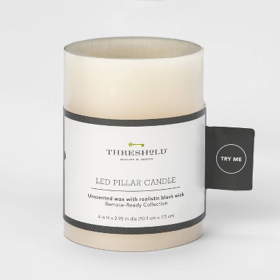 "4"" x 3""LED Flameless Black Wick Candle Cream - Threshold™"