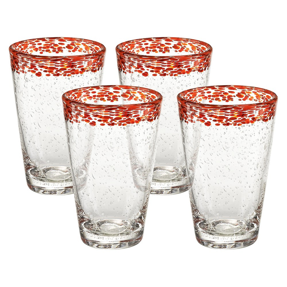 Image of 18oz 4pk Glass Red Rim Mingle Tumblers - Artland, Clear