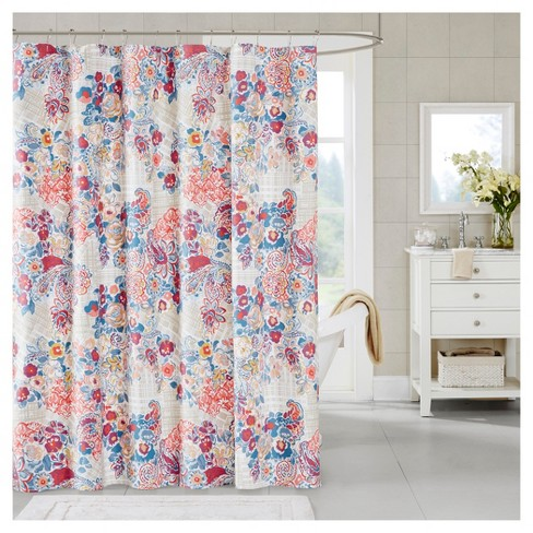 Floral Shower Curtain Orange Blue Target