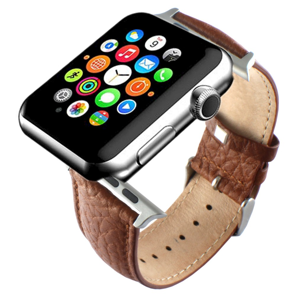 Men's Apple Watch Replacement Leather Band 42mm with Steel Adapter - Brown, Golden Pretzel